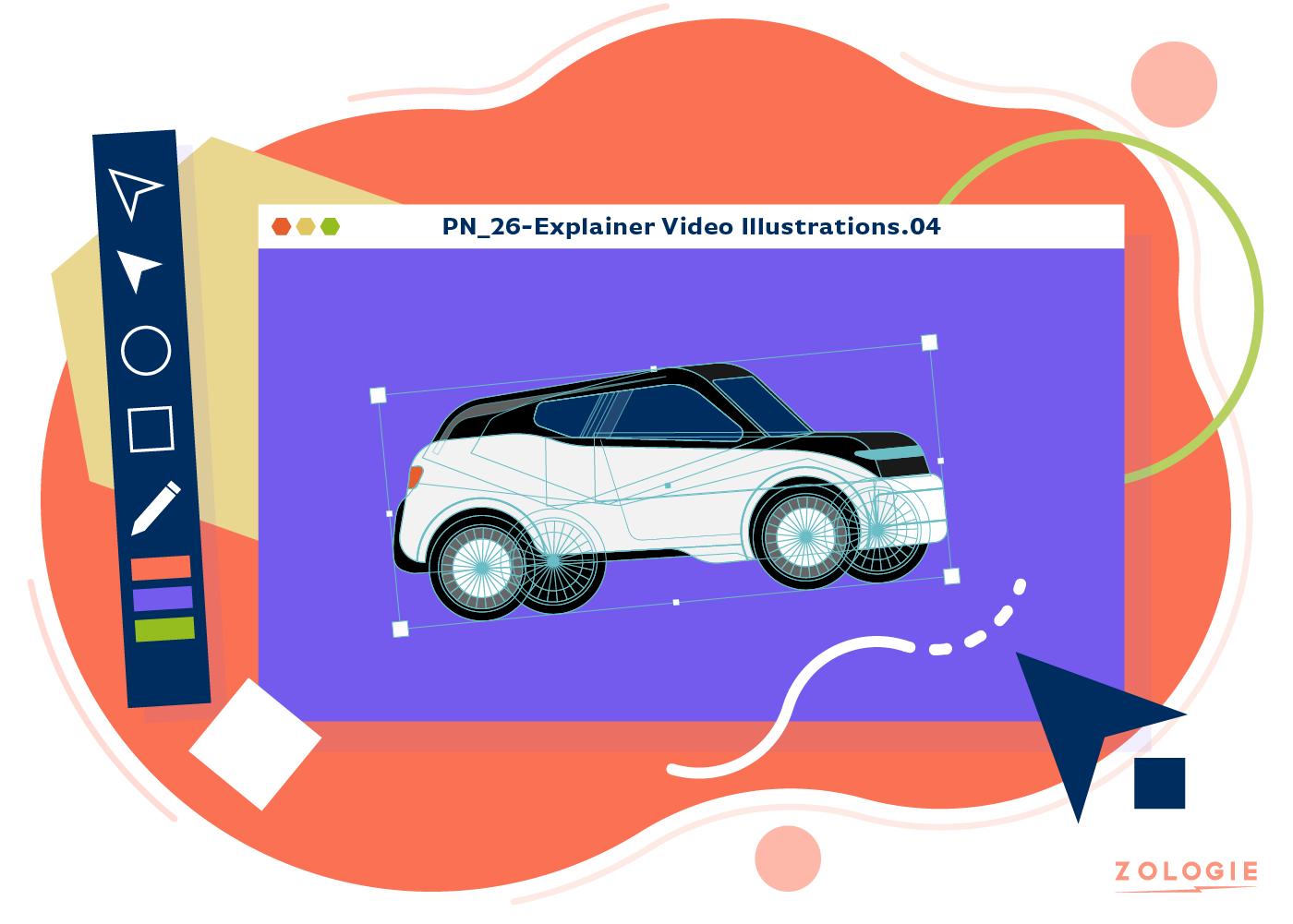 Explainer video illustrating in Adobe Illustrator